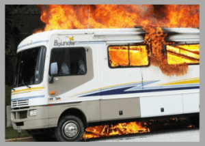 travel trailer on fire